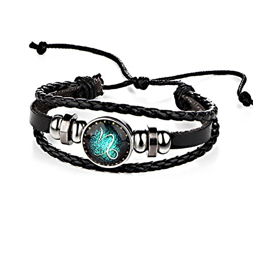 Armband Armreif,Schmuck Geschenk, Sale Fashion 12 Constellations Leather Zodiac Sign with Beads Bangle Bracelets for Men Boys Jewelry Travel Accessories Gifts Capricornus