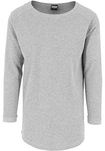 Grau Classic Long Sleeve T-shirt (Urban Classics TB1103 Herren Langarmshirt Shaped Waffle Long Sleeve Tee grau (Grau) Large)