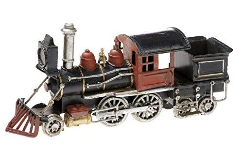 Pamer-toys modellismo ferroviario di latta – in stile antico-retro-vintage -- misure ca. 16-20 x 10 x 5 cm (locomotiva a vapore con tender - nero)