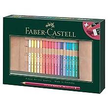 Faber-Castell 110030 - Set di 30 matite colorate Polychromo Polychromo in pelle e accessori, impermeabili, infrangibili, per professionisti e appassionati di hobby