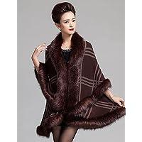 CU@EY Lungo Cloak / Capes Da donna-Da party/cocktail Vintage Collage Blu / Rosso / Nero / Marrone A V Manica lunga Lana / AcrilicoPrimavera / , brown , one-size