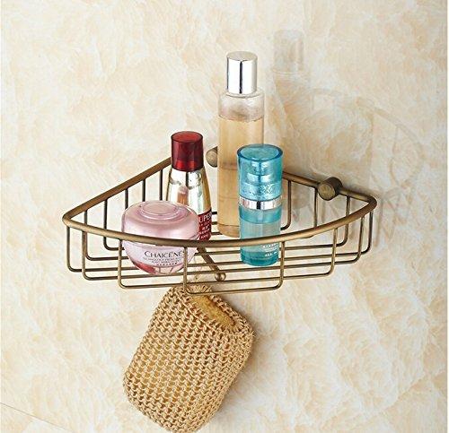 BATHAE Fissato al muro d'ottone antico bagno sapone Holder carrello Doccia Shampoo...
