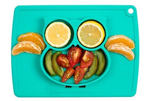 Baby-Kinder-Teller mit Bär Gelb Tischset aus Silikon Platzset