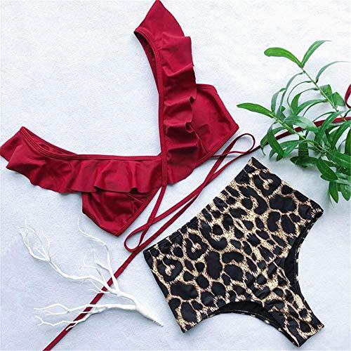 BENGKUI Bikini,Rote Rüschen Badeanzug Mit Hoher Taille Bikini Frauen Bademode 2-Stück Bikini Badegast Wrap-Around-Badeanzug Schwimmen Eingestellt, M