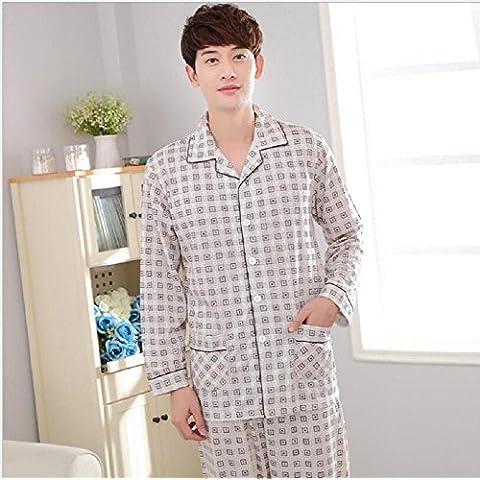 sezione sottile plaid cardigan pigiami a maniche del bambù - - Men 's lunga serie casa pigiameria dimensionale , a , xxl