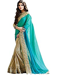 Great Indian Festival Sarees For Women Latest Design For Party Wear Offer Low Price Sale Turquoise Beige Color...