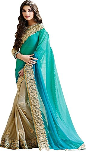 Visva Fashion Georgette Saree With Blouse Piece (Licra-8_Blue_Free Size)