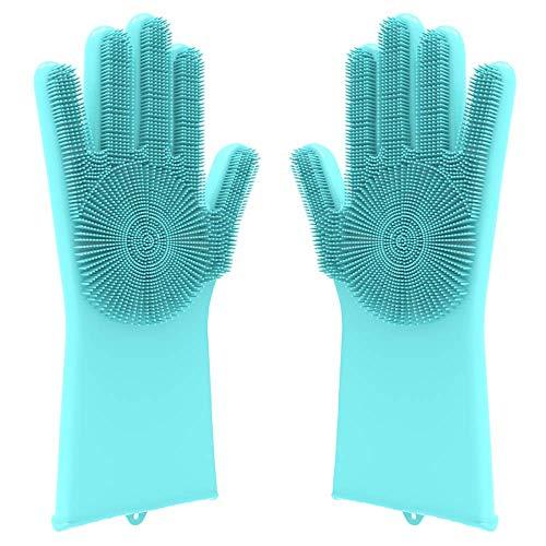 Silikon Handschuhe für den Haushalt mit Mikro Noppen, ideal zum Geschirrspülen, putzen, sauber machen und für Haustiere
