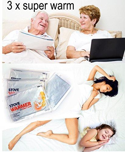 3 x Bett-Wärmepad Wärmekissen Taschenwärmer Handwärmer Körperwärme Wellnesswärme (12 Stück Voll Bett)