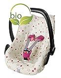 ByBoom - Sommerbezug, Schonbezug für Babyschale aus 100% BIO-Baumwolle mit Motiv, Universal für z.B. Maxi-Cosi, CabrioFix, Pebble, City SPS, Farbe:Natur - Sterne Fuchsia