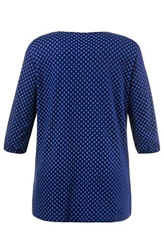 Ulla Popken Damen große Größen | Shirt | Rundhalsausschnitt | A-Linien-Form | ¾-Arm | Minimalmuster | bis Größe 62/64 | 707568 kornblumenblau