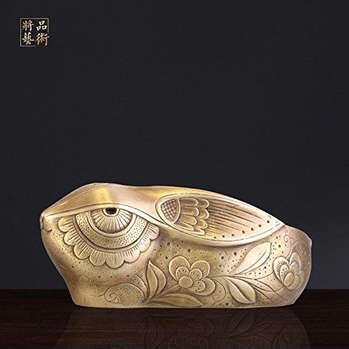 XOYOYO Alle Kupfer antik Kupfer Aschenbecher Wohnzimmer Büro Kaninchen Tier Modellierung großer Kupfer Aschenbecher Desktop Dekoration