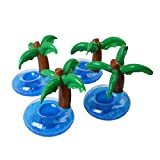 PBELE 4x Flamingos/Coconut Tree Drink Water Beer Holder Cup Swimming Pool Floating Funny Inflatable Air Raft Bath Toys (4X Coconut Tree)