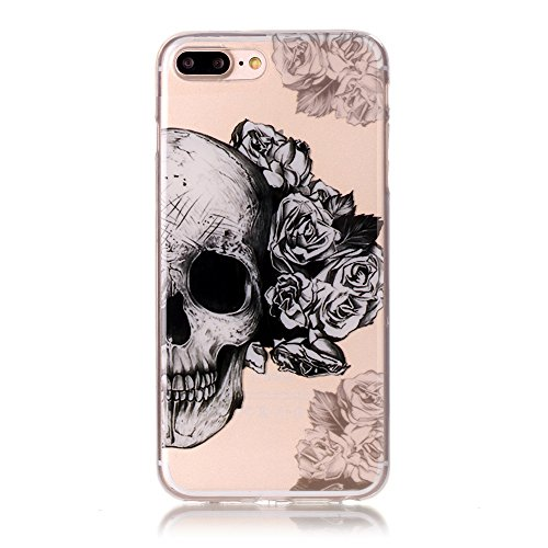 SainCat Coque Housse pour Apple iPhone 7 Plus,Transparent Coque Silicone Etui Housse,iPhone 7 Plus Silicone Case Soft Gel Cover Anti-Scratch Transparent Case TPU Cover,Fonction Support Protection Comp crâne moitié