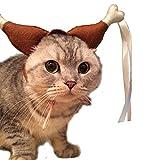 InnoWill Katzenkostüm Drumstick Perücke Katzen Knochen Kostüm Hut Halloween Haustier Cosplay Fancy Dress Up (S Für Katze)