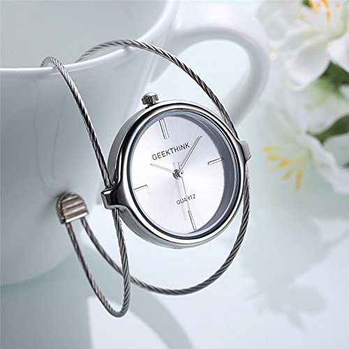 Uhren für Frauen, Geekthink Quartz Analog Watch Öffnen Armreif Stahlband Runde Fall Armbanduhr(Silber)