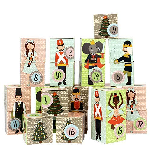 Papierdrachen DIY Adventskalender Kisten Set - Motiv Nussknacker - 24 Bunte Schachteln aus Karton...