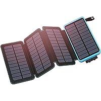 Hiluckey Solar Power Bank 25000mAh, Solar Charger con 4 Paneles Solares Impermeable Cargador de Batería Portátil para iPhone, Samsung Galaxy, iPad, teléfono Android