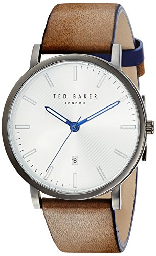 Ted Baker Men's 'DEAN' Quartz Stainless Steel and Leather Casual Watch, Color Black (Model: TE50012003)