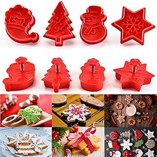 Zerana-Xmas Molde de cortador de hornear de Navidad para fondant 4 piezas de galletas de galleta pastelería pastelería herramientas de cocina para hornear