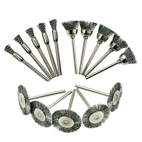 ukcoco 15pcs Wire Wheel Brush Set Zubehör Schleifmittel der Polieren für Drehwerkzeug Dremel