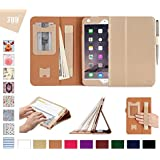 iPad Mini 4 Case Cover, Fyy [Luxury Gold] Premium PU Leather Case Stand Cover with Card Slots, Note Holder, Quality Hand Strap and Elastic Strap for iPad Mini 4 Gold (With Auto Wake/Sleep Feature)