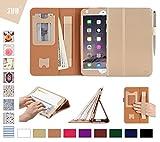 iPad Mini 4 Hülle, Fyy® [Super Functional Series] Hochwertige Kunstleder Hülle mit elastitcher Handschlaufe und Halterungen für Karten, Notizen für iPad Mini 4,Gold (mit automatischer Schlaf/ Weck-Funktion)