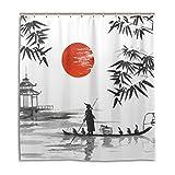 jstel Decor Vorhang für die Dusche Japanische Malerei Mann mit Boot Muster Print 100% Polyester Stoff 167,6x 182,9cm für Home Badezimmer Deko Dusche Bad Vorhänge mit Kunststoff Haken