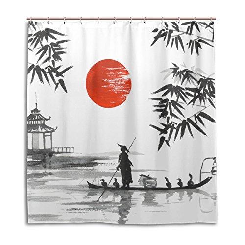 jstel Decor Vorhang für die Dusche Japanische Malerei Mann mit Boot Muster Print 100% Polyester Stoff 167,6x 182,9cm für Home Badezimmer Deko Dusche Bad Vorhänge mit Kunststoff Haken - Dusche Vorhang Liner Klar