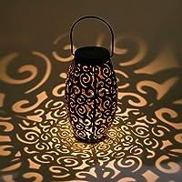 AYOUYA Led Lanterne Solaire Creuse Lumière Solaire Suspendue Luminaire Extérieur de Jardin Vintage en Métal Lumière de Paysage Étanche Lumière d'Ambiance Ovale pour Décoration de Parc Jardin Allée Terrasse Cour Patio