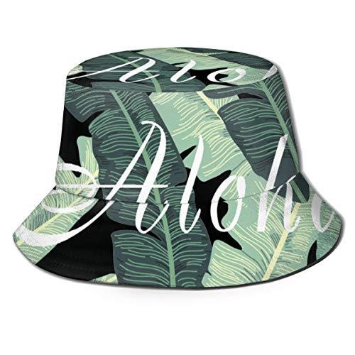 Pipaxing Aloha Bananenstauden und Blumen Unisex 100% Baumwolle Packable Reversible Tie Dye Bucket Sonnenhut -