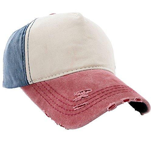 Vintage Cap (Unisex Baumwolle Baseball Cap Star Sport Mütze Baseballkappe Snap back Trucker MFAZ Morefaz Ltd (Plain Nave Red))