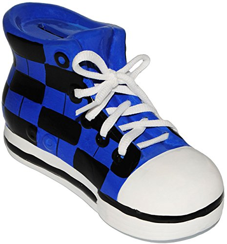 alles-meine.de GmbH 2 Stück _ Sparschweine -  Schuhe Sneaker / Sportschuh  - mit echten Schnürsenkel ! - stabile Sparbüchse aus Porzellan / Keramik - 3-D Effekt - für Kinder & .. - 4