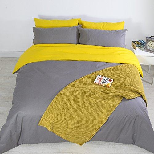 Adam Home Luxus Neu 5pcs Reversibel Komplett Bettdecke Abdeckung Einstellen + 4X Kissenbezüge Bettwäsche Einstellen - Mustard/Grey - King (Tröster 16 Stück)
