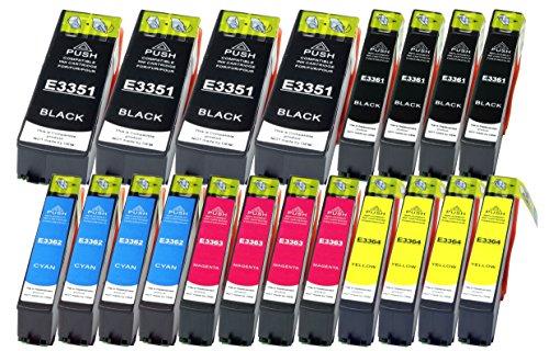 20 Druckerpatronen XL Farbe ersetzen Epson T3351 T3361 T3362 T3363 T3364 geeignet z.B. für Epson Expression Premium XP-530, XP-540, XP-630, XP-635, XP-640, XP-645, XP-830, XP-900 - 20 Farbe Tintenpatrone