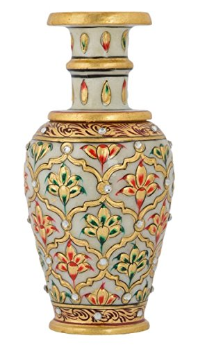 crafts world Marble Pot | Home Decor|Marble Handicrafts|Meenakari Work|Handwork|Handpainted|Makrana|Sangemarmar Marble|Traditional|Decorative|Gift item|Showpiece|Heritage|Royal|Wedding Gift Item | Home Item |Prime|