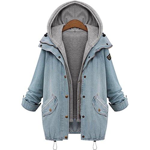 Xinan Damen Jeansjacke Denim Winterjacke Freizeit Oberteil Strickjacke Jäckchen Tops Mäntel Outwear (L, Blau)