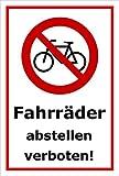 Schild - Fahrräder abstellen verboten - 15x10cm | stabile 3mm starke PVC Hartschaumplatte – S00050-042-B +++ in 20 Varianten erhältlich