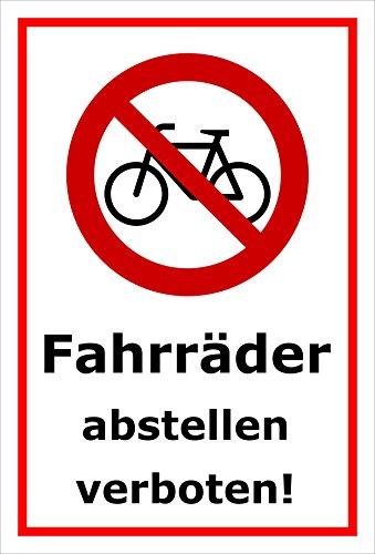 Melis Folienwerkstatt Schild - Fahrräder abstellen - 15x10cm | 3mm Hartschaum – S00050-042-B -20 Varianten