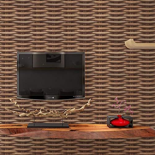 JJHR Tapete Chinesische Vintage 3D Stereo Simulation Rattan Wicker Tapete Wand Tee Haus Restaurant Arbeitszimmer Hintergrund Wanddekor, A -
