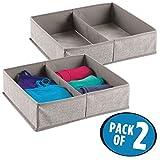 mDesign 2er-Set Stoffbox für Schrank oder Schublade, 2 Fächer – die ideale Aufbewahrungsbox (Stoff) – flexibel verwendbare Stoffkiste z. B. für Wäsche und Accessoires – grau