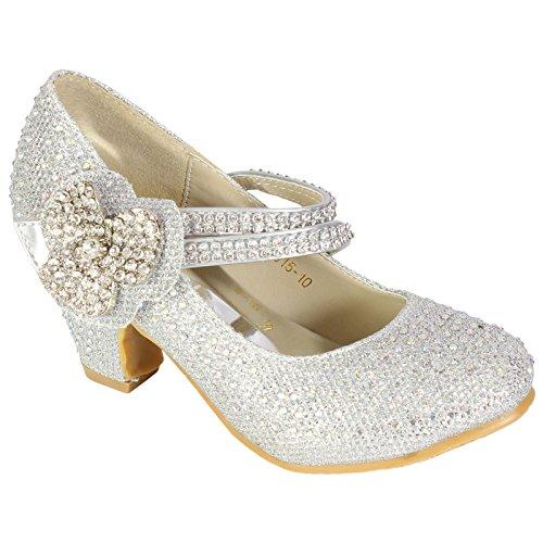 MYSHOESTORE , Sandales pour fille - Silver Diamante Flower