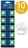 DNA - Confezione da 10 batterie alcaline AG13 a bottone (A76, L1154, SR44, G13, 357, PX76A, V13GA)