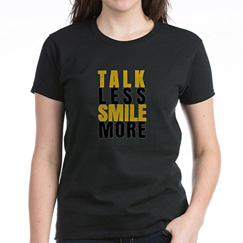 CafePress Talk Less Smile More T-Shirt - Womens Cotton T-Shirt