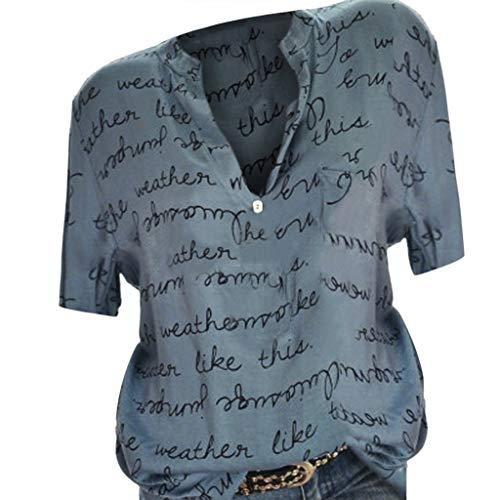 COZOCO 2019 Heiße verkaufende Frauen lösen V-Ansatz Knopf-Kurzschluss-Hülsen-Buchstabe-Bluse-Pullover-Oberseiten-Hemd