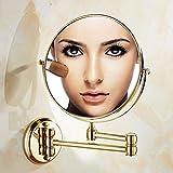Gold Badezimmerspiegel Make-up-eitelkeit-mirrorm, Schminkspiegel Wand befestigter kosmetikspiegel Falten Ausfahrbare Duschspiegel Rasierspiegel Zweiseitig vanity kosmetikspiegel Kosmetikspiegel-A