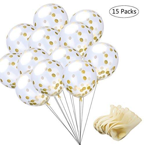 EZAKKA Globos de Confeti, Globos de Fiestas Transparentes de Latex, Adorno Perfecto para Fiestas, Cumpleaños, Bodas, Etc... Set de 15 Piezas