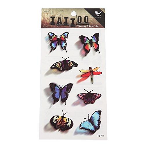 Preisvergleich Produktbild Tattoo Insekte Libelle Falter Schmetterlinge bunt Schatten schwarz 8 Motive 1 Bogen