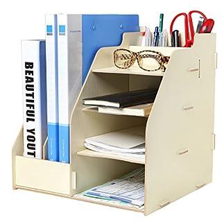 MyGift Wood Board Desktop Organizer Rack w/ 2 Document / Magazine Slots, Shelf Cubbies & Office Supply Holder