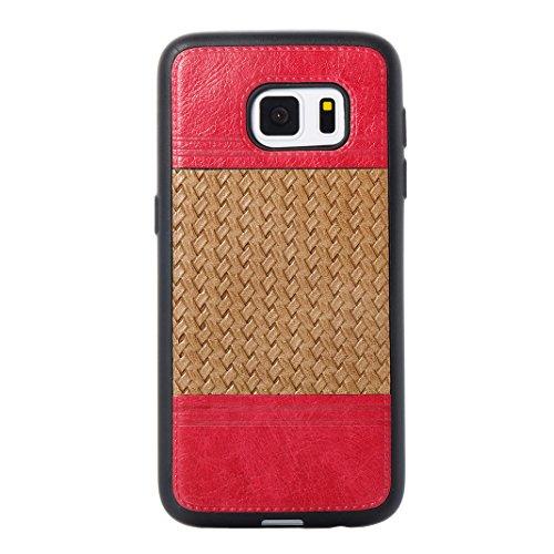 Cover Per Samsung Galaxy S7, Asnlove TPU Moda Morbida Custodia Linee Intrecciate Caso Elegante Ultra Sottile Cassa Braided Stile Tessere Case Bumper Per Samsung Galaxy S7 - Rosa Marrone